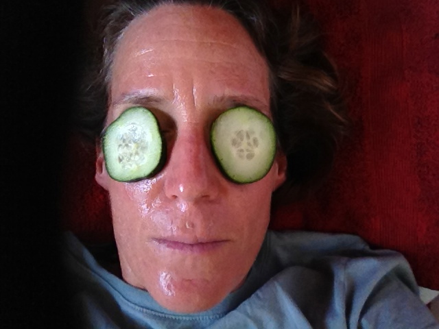Cucumber peel.  I am rocking this look.  Baby.