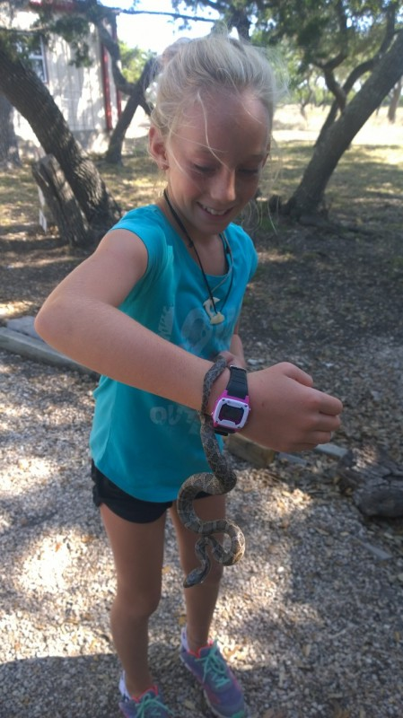 Mia with the rat snake. She isn't afraid of much.