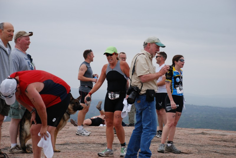 About to assume the hands on knees position after the run from hell up the Rock.