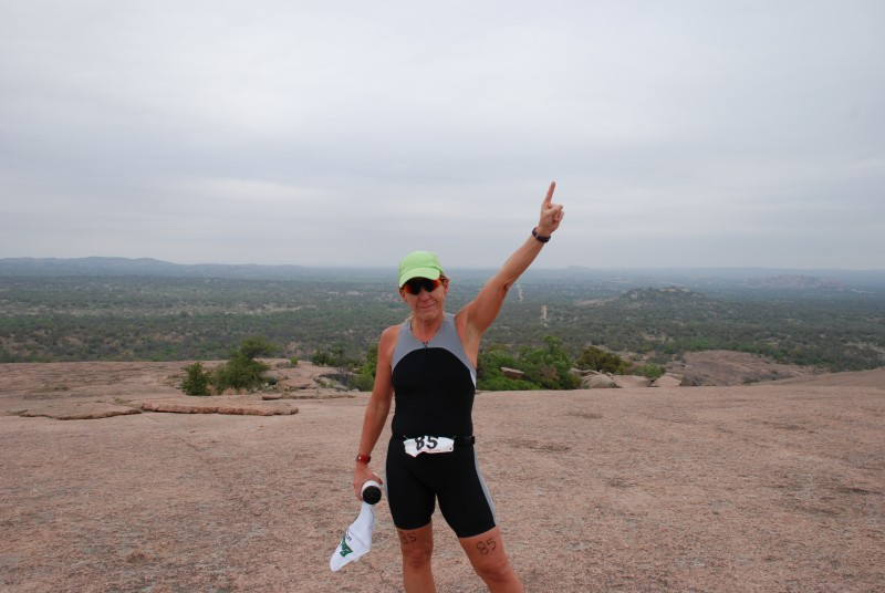 At the top of Enchanted Rock after taking 5th in the Extreme Duathlon.