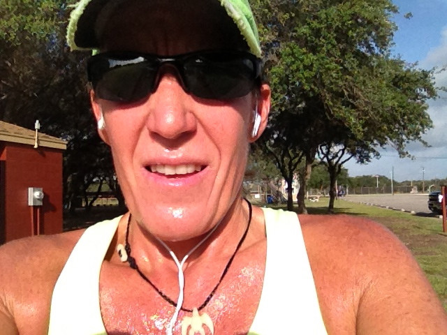 Serious south Texas sweat. My green race hat kept it out of my eyes.